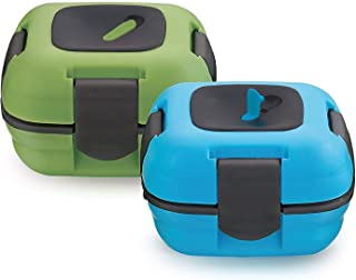 Lunch Box ~ Pinnacle Insulated Leak Proof Lunch Box for Adults and Kids - Thermal Lunch Container with New Heat Release Valve ~Set of 2~ Blue/Green