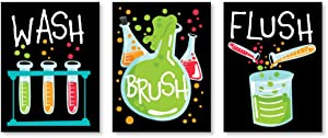 Big Dot of Happiness Scientist Lab - Mad Science Kids Bathroom Rules Wall Art - 7.5 x 10 inches - Set of 3 Signs - Wash, Brush, Flush