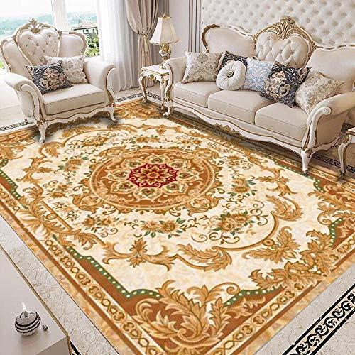 Alfombras Alfombra habitación Matrimonio Diseño Floral marrón Amarillo fácil de Limpiar Alfombra Antideslizante para Cocina Cosas para el baño 60*90CM