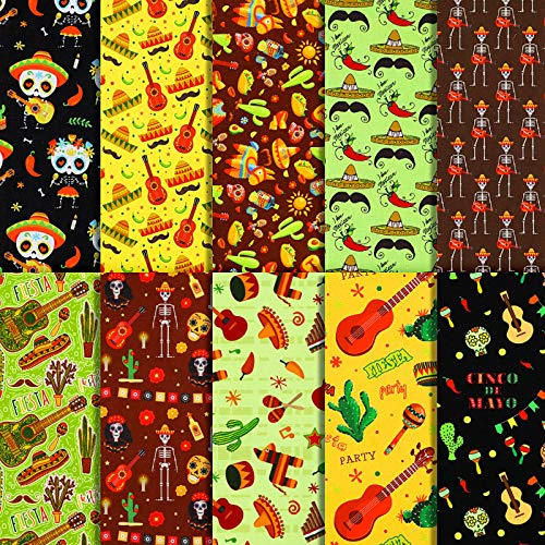 10 Telas de Algodón con Tema de Fiesta Mexicana Telas de Cinco de Mayo Tela con Estampada de Cactus Guitarra Burro de Cuadrícula para Decoración Bolsa Casa Bricolaje Fiesta Mexicana