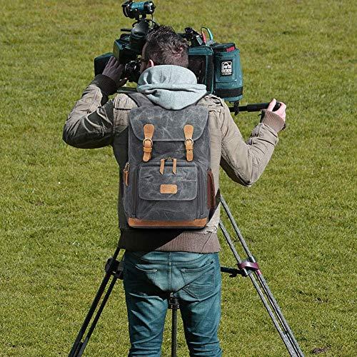 UBAYMAX Kamerarucksack Kameratasche, Wasserdicht Canvas Leinenstoff und Echt-Leder DSLR Rucksack, 15,6 Zoll Laptop Rucksack, Fotorucksack für Kamera Zubehör und Outdoor Sport Reise (Grau)