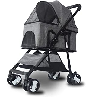 Pet stroller Pet Stroller,Pet Stroller with Rain Cover, Four-Wheeled Pet Stroller,Pet Supplies,Dog Cart,for Small and Medium Pets (Color : Grey)