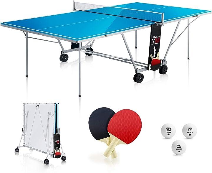 Tavolo da ping pong esterno pieghevole outdoor tornado-dimensioni ufficiali da torneo 274 x 152,50 x 76 cm ym B086W6JTZD