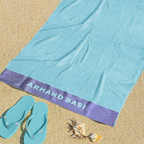 Burrito Blanco Armand Basi Toalla de Playa/Toalla de Piscina 62 Grande Lisa Algodón 100% con Tacto de Terciopelo Rectangular de 100x180 cm, Turquesa