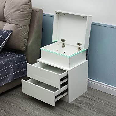 Modern LED End Table & Nightstand for Bedroom - Night Table with Built in Multi-Colour LED High Gloss Backlight - Bedside