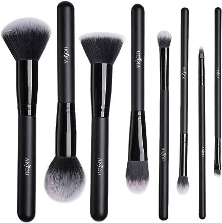 Anjou Pinceaux Maquillages Professionnels Kit de 8pcs, Poils Synthétiques Vegan, 100% Sans Cruauté, Soyeux et Denses, Produits de Toute Consistance (Poudres, Crèmes, Liquides) - Noir