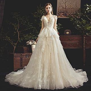 FTFTO Home Accessori Vesti Una Gonna Leggera Abito Dream Princess Bride Abito a Coda Piccola Abito da Sposa con Due Cavezz...