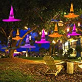 Bozaap 8Pcs Halloween Weihnachten Dekorationen,Hängende Beleuchtete Glühende Hexen-Hüte Halloween-Weihnachtsdekorationen mit LED-Lichterketten für Weihnachtsbaum, im Freien, Yard, Garten