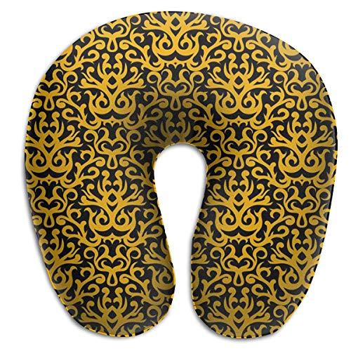 Almohada para el Cuello Patrón de Damasco en Oro sobre Negro Almohada de Viaje en Forma de U Funda Lavable con diseño ergonómico y Contorneado