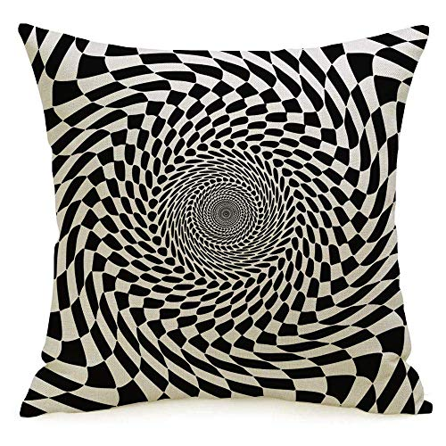 N\A Decorative Linen Square Throw Pillow Cover Case 3D Abstract Hypnotherapy Design Black White Optical Illusion Circle Perspective Geometric Textures Pillowcase Cushion Sham for Couch