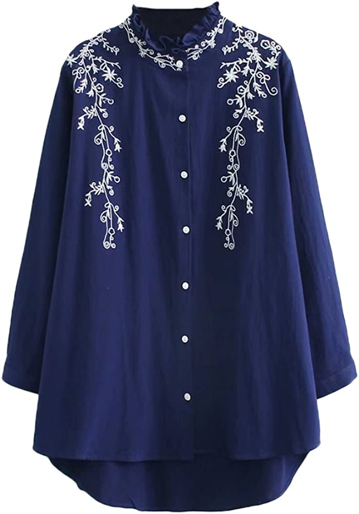 Minibee Women's Autumn Embroidery Shirts New Plus Size Blouse Long Tops