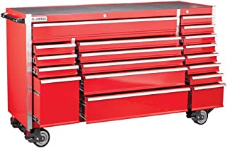 72 Inch 18 Drawer Glossy Red Industrial Roller Cabinet; Loading Capacity of 4602 Lb.