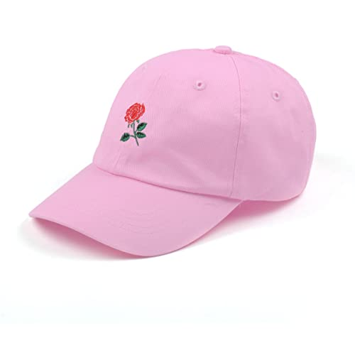 AUNG CROWN Rose Embroidered Dad Hat Women Men Cute Adjustable Cotton Floral Baseball  Cap 34a99b0b820