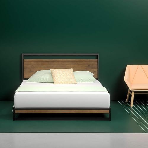 King size wood headboard Diy Zinus Suzanne Metal And Wood Platform Bed With Headboard Box Spring Optional Wood Slat Mstoyanovinfo King Size Wood Headboard Amazoncom