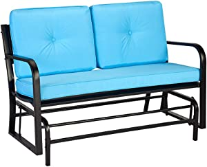AECOJOY Outdoor Patio Glider Bench Swing Chair Swinging Loveseat Glider Rocking Bench with Blue Removable Cushion