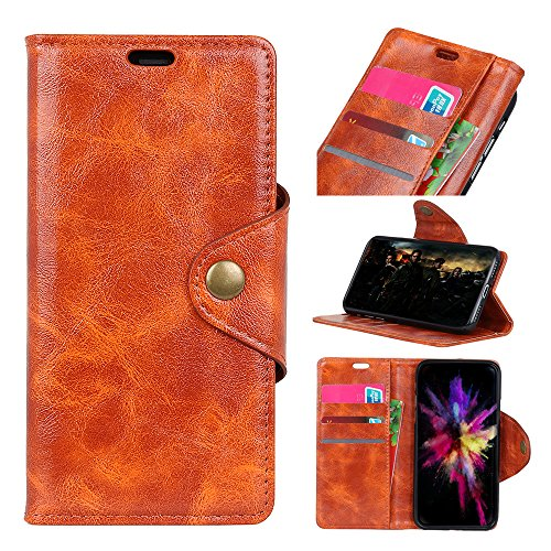 cuzz Wallet Case voor Huawei Enjoy 7/Y6 Pro 2017/P9 lite mini, met [ Tempered Glass Screen Protector] echte Retro Vintage lederen portemonnee Flip Cover portemonnee standaard met [Card Slots] Case, Huawei Y5 2018/Y5 Prime 2018/Honor 7S, ORANJE