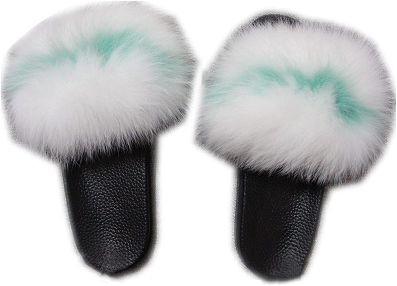QMFUR Women Real Fox Fur Open Toe Single Strap Slip On Sandals Black Sole (10, White-Green)