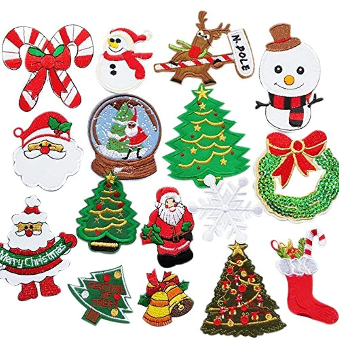 Chenkou Craft 16pcs Random Merry Christmas Sew-on & Iron-on Patch Santa Tree Snowman Beer Jingle Bell Claus Embroidered Patches (Christmas Patch) svflunggiahbzuz7