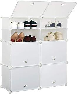 Étagère à Chaussures Modulable, Rangement Chaussures à Emboîtement, Porte-Chaussures Portable avec 12 Casiers, Meuble de R...
