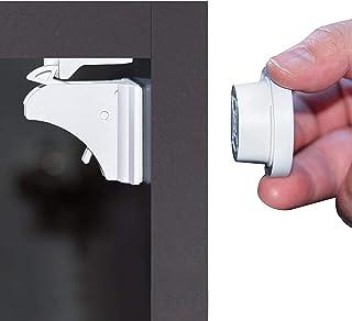 Cierre Seguridad Cajones Bebé, Newlemo Cerraduras Magnéticas de Seguridad para Niños, Fácil Instalación en Segundos, sin Herramientas ni Tornillos Necesarios(4 Cerraduras + 1 Llaves)