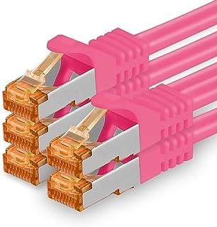 7,5 m - Cat.7 nätverkskabel magenta - 5 stycken Gigabit Ethernet LAN-kabel 10000 Mbit s patchkabel Cat7-kabel S FTP PIMF-s...