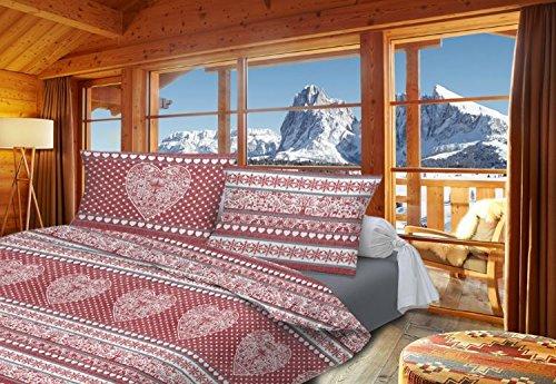 Smartsupershop Chalet Tyrolien Housse de couette pour lit double, motif cœurs, couleur rouge, avec taies d'oreiller, en coton