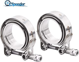 ESPEEDER 2.25Inch Stainless Steel V Band Exhaust Clamp Male Female Flange Kit, 2Pcs Universal V Band Perfect for Turbo Downpipe