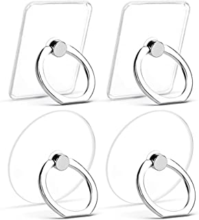 Earea Cell Phone Ring Holder, Transparent Phone Ring Holder 360°Rotation Finger Ring Stand Phone Ring Grip for iPhone X/8/8 Plus, Galaxy S9/S9 Plus and Almost All Phones(4 Silver)