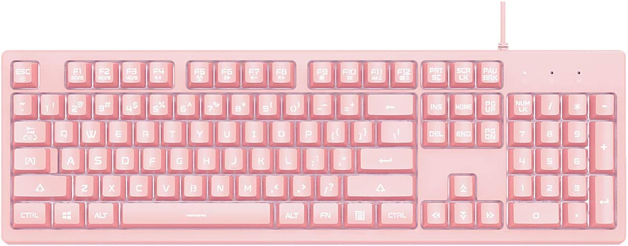 AJAZZ DKS100 Computer Keyboard, White Backlit Mechanical Feeling Membrane Gaming Keyboard, Wired 104 Keys for Gaming Office and Typing, Pink