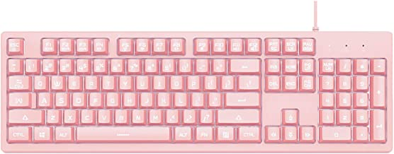 Ajazz DKS100 Quiet Keyboard, DOUYU White Backlit Mechanical Feel Membrane Gaming Keyboard, Wired 104 Keys for Gaming Office and Typing, Pink