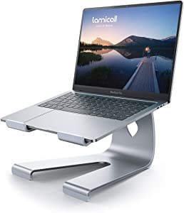 Lamicall Laptop Stand Riser for Desk : Ergonomic Aluminum Computer Notebook Laptop Holder Lift Elevator for Desktop, Compatible with MacBook Air Pro, Dell XPS, HP (10-17 inch) - Silver