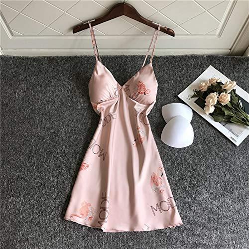 Home+ Damen Nachthemd, Sexy gedruckt V-Ausschnitt Nachthemd Frauen Ärmellose Rayon Nachthemd Satin Nachthemd Nachthemd Nachthemd (Color : Pink, Size : L)