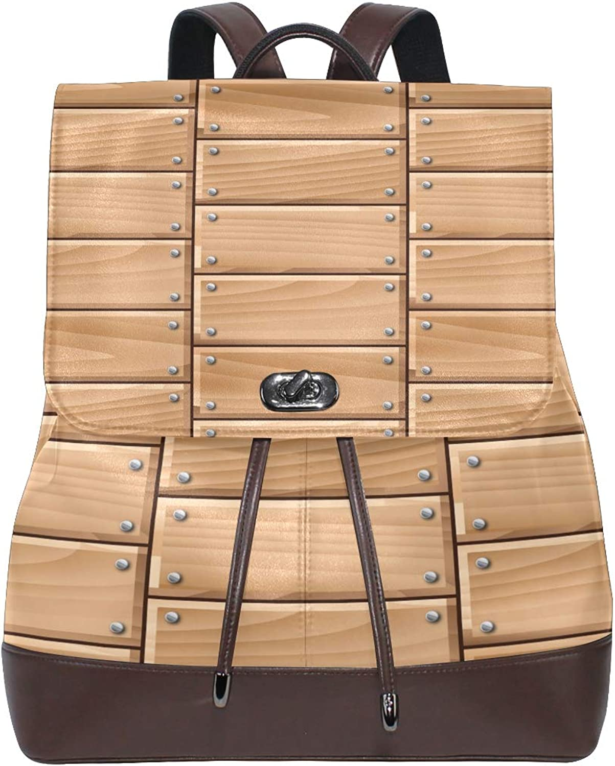 FAJRO Fresh Wood Siding Wall Travel Backpack Leather Handbag School Pack