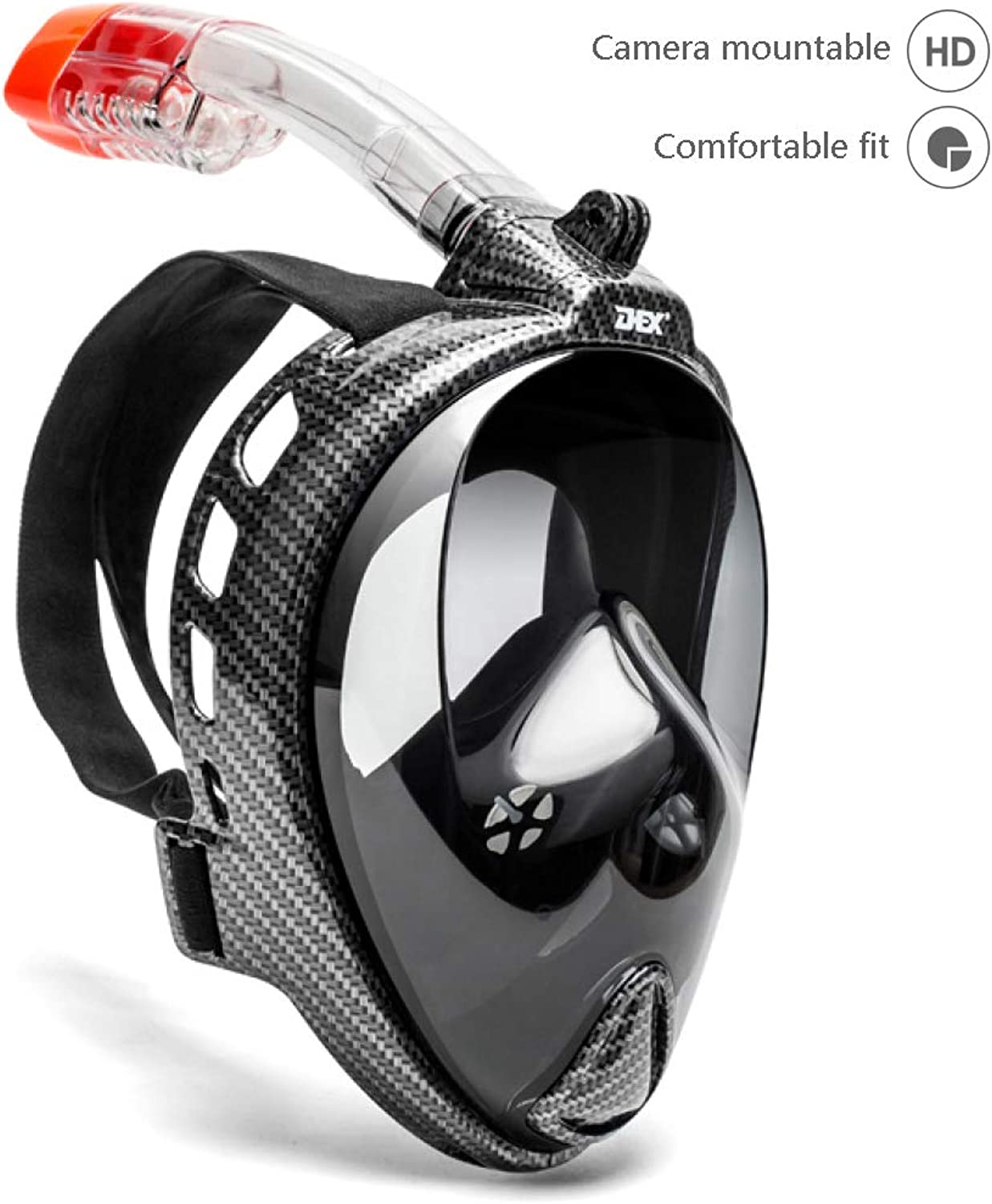 Snorkeling Mask Full Face for Adult Kids, HD Mirror Panoramic 180° View Diving Mask, AntiFog AntiLeak Easy Breathe,with Action Camera Slot