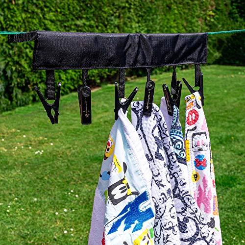 HANGERWORLD 4 Zwart Verstile Drogen Peg Rack met 6 Pegs Opknoping Kleding Sokken Ondergoed