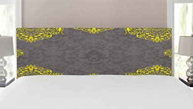 Ambesonne Grey and Yellow Headboard, Traditional Victorian Style Abstract Backdrop Floral Frame Image, Upholstered Decorative