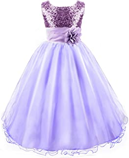 Wedding Flower Girls Dress, Sequin Sleeveless Lace Dress for 3-12 Years Old Girls