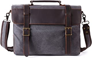 Men's Accessories Office Vintage Style Backpack Handbag Casual Business Briefcase Crossbody Satchel Bag,Black/Fuchsia/Green/Khaki Outdoor Recreation (Color : Gray)