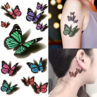 de0756308 Oottati Small Cute Fake Waterproof Women Temporary Tattoo 3D Green Purple  Butterfly (2 Sheets)