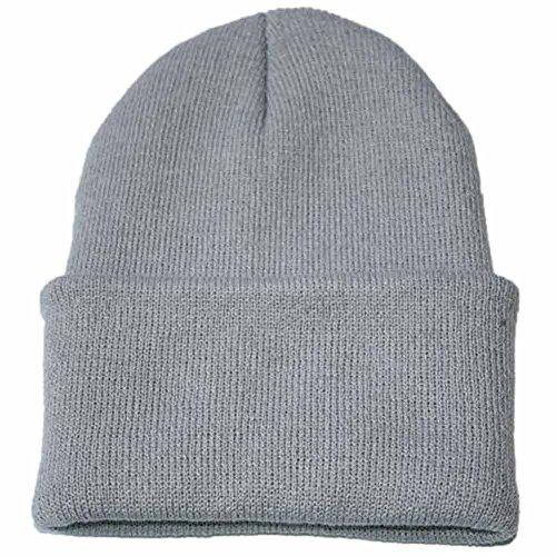 YWLINK Unisex StrickmüTze Slouch Hip Hop Kappe Warmer Winter SkimüTze,Herren Und Damen(Freie Größe,Grau)