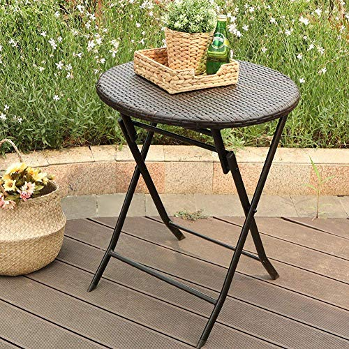 PHI VILLA Outdoor Rattan Wicker Folding Picnic Table Patio Porch Dining Table (24' Rattan Table)