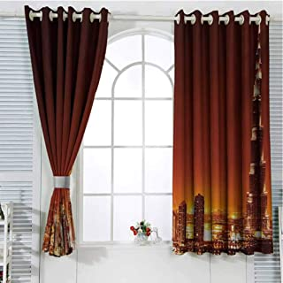 Landscape Sliding Door Curtains for Living Room Arabic Dubai Downtown with Cityscape Skyscrapers Sunset Middle East City Photo Room Darkening Curtains Room Decor W72 x L107 Inch Multicolor