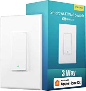 3 Way Smart Switch, meross Smart Light Switch Works With Apple Homekit, Siri, Alexa and Google Assistant, 2.4Ghz WIFI Light Switch Neutral Wire Required, Remote Control, Schedule, No Hub Needed