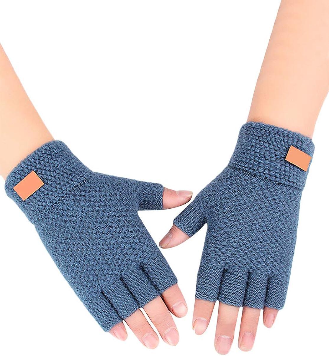 TYQQU Men's Half Finger Gloves Stretchy Winter Warmer Knitted Mittens Fingerless Gloves
