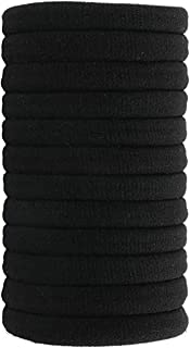 Fani Soft Cotton Stretch Hair Ties Bands 12 Pack Black Elastic Cotton Hair Ties, Seamless Thick Hair No-Damage Band Ponytail Holders Perfectly for Women & Ladies