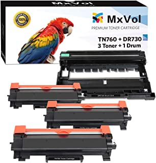 MxVol Compatible Brother 3-Pack TN-760 TN760 Toner Cartridge & 1-Pack DR-730 DR730 Drum Unit, use for Brother HL-L2350DW DCP-L2550DW MFC-L2710DW MFC-L2750DW Printer, (3 Toners + 1 Drum, 4-Pack)