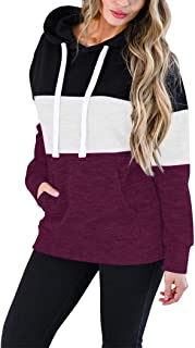 Vivitulip Women's Lightweight Pullover Hoodies Sweatshirt Color Block Long Sleeve Tunic Tops