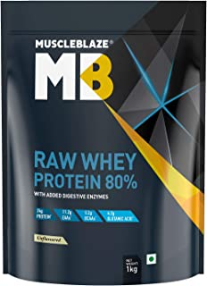 MuscleBlaze Raw Whey Protein Concentrate 80% with added digestive enzymes (Unflavoured, 1 kg / 2.2 lb)