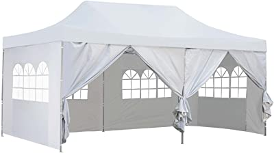 Amazon Com 10x20 Ft Pop Up Canopy Party Wedding Gazebo Tent Shelter With Removable Side Walls White Garden Outdoor