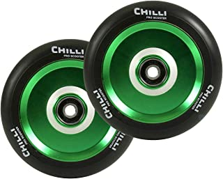 Chilli Pro Scooter Wheels 110mm Urethane - Pop Pro Scooter Replacement Wheels - Green Pro Scooters Wheels & ABEC 9 Bearings w/ Aluminum Hubs - Freestyle Stunt Scooter Wheel - (1 Single Wheel)